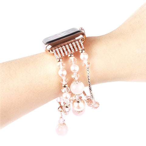 Women Handmade Elastic Stretch Beaded Natural Stone Bracelet for Apple Watch