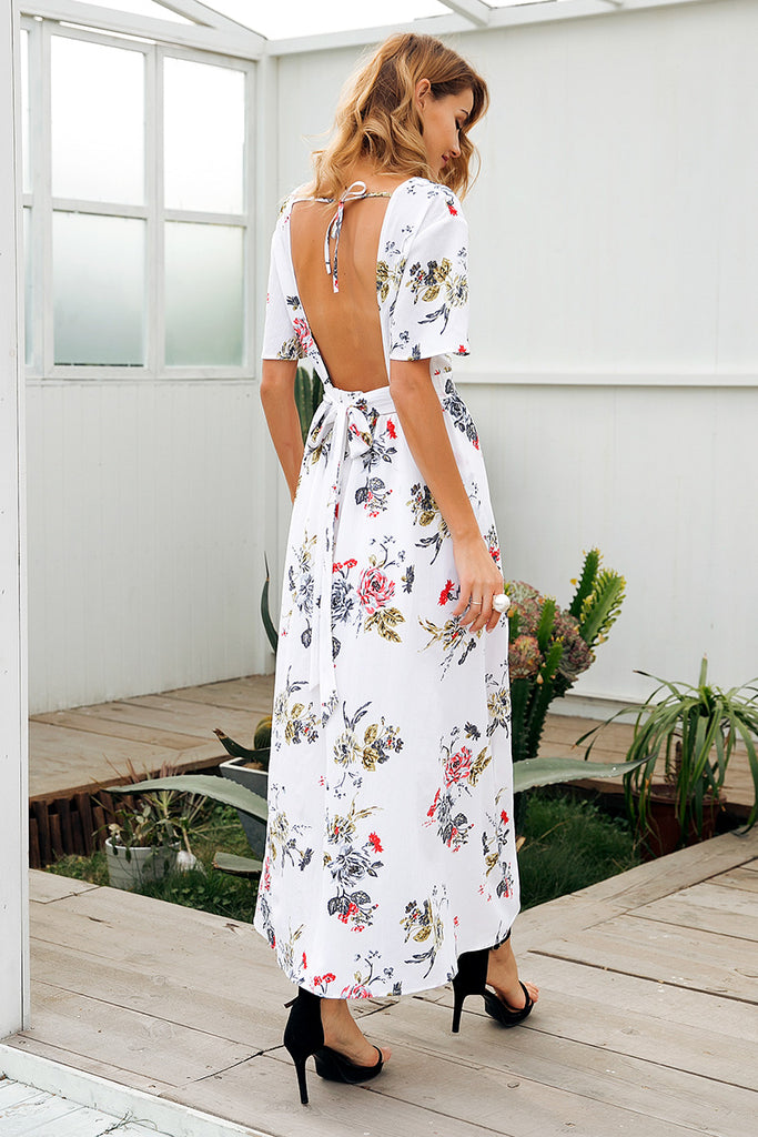 boho Backless jumpsuit with waist tie