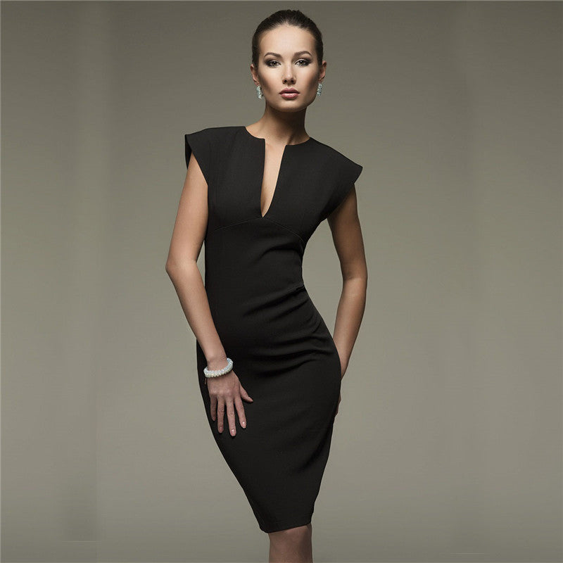 Sexy V Collar Self Cultivation Elegant Party Dress