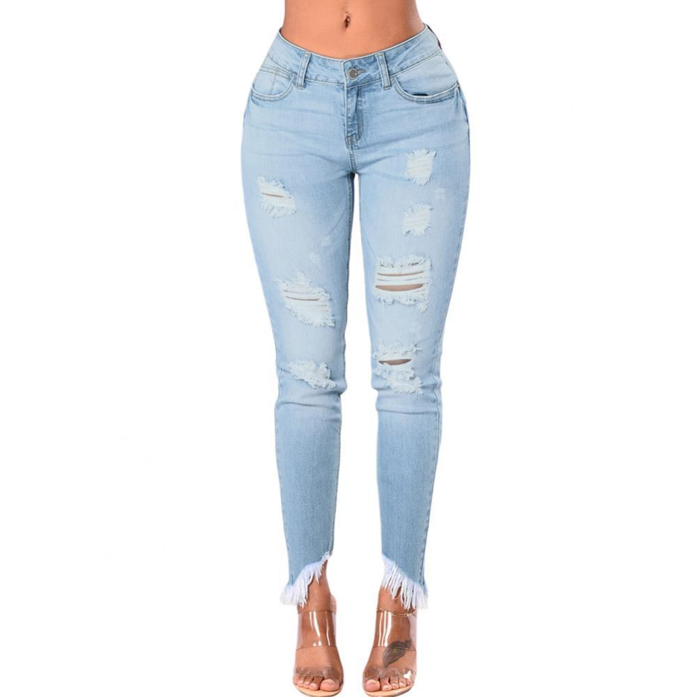 Frayed High Waist Ripped Jeans