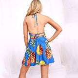 Pineapple Print Mini Short Dress