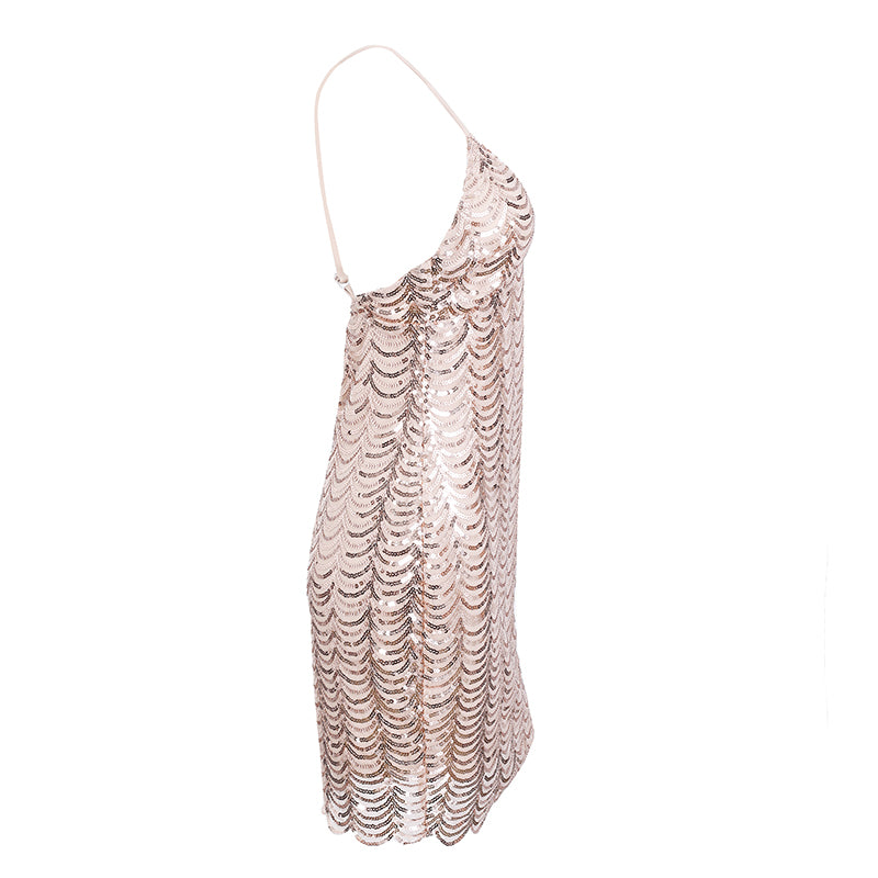 Sequin strap backless party / Club Dress