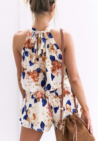 Two piece Floral  Bohemian Beach Casual Playsuit