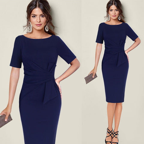 Womans Wasit Bow  Elegant Ruched Bodycon Sheath Dress