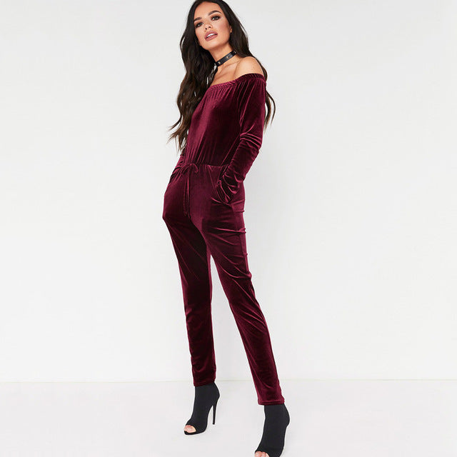 Elegant Off The  Shoulder Velvet Jumpsuit