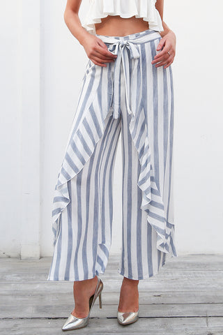 Sassy beach ruffle striped High waist casual trousers