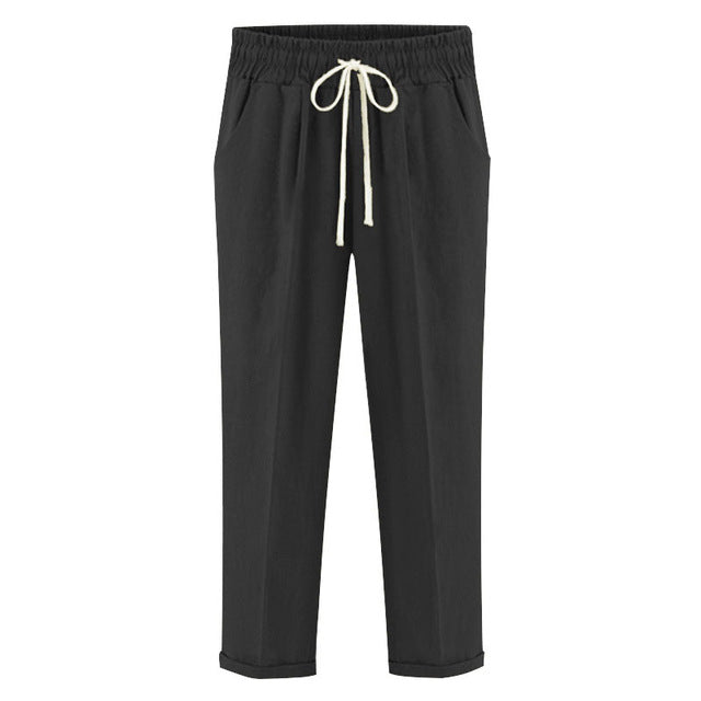 Cropped Cotton Elastic Casual Lady Capri Trousers M - 6XL