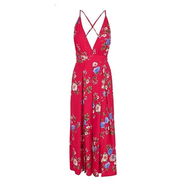 Board Walk Spring v neck backless Floral jumpsuit