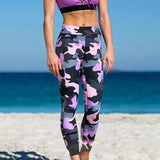 Camouflage Pink / Gray  High Waist Workout Sport Leggings