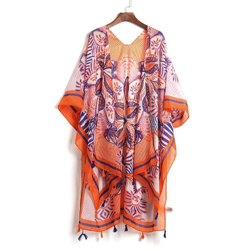 Long Cardigan reddish / orange Swim Cover Up
