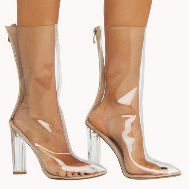Pointed Toe Crystal Heel Transparent Women Boots Mid Calf