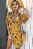 Casual Hawaiian boho wrap summer dress