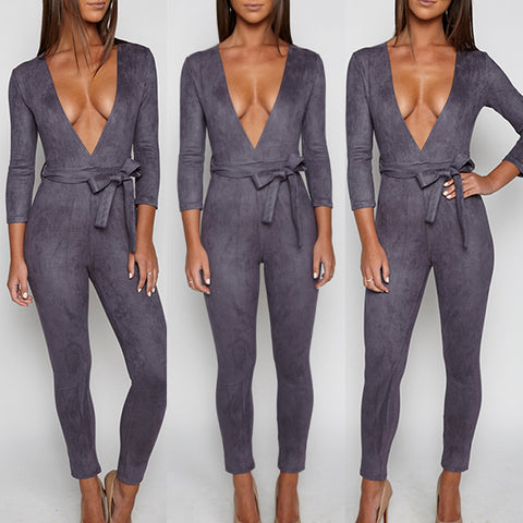 Women's Sexy Long Sleeve V-Neck Bodycon Jumpsuit