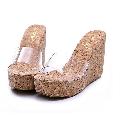Transparent Cork bottom Wedge Shoe