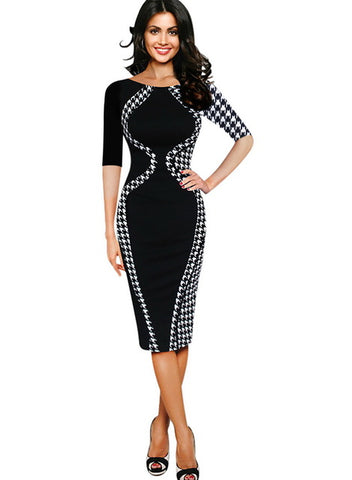 Classy Color block Optical Illusion Bodycon Office Work Party Dress