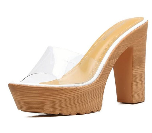 Stylish Clear Transparent Thick High Heels Platform Slipper