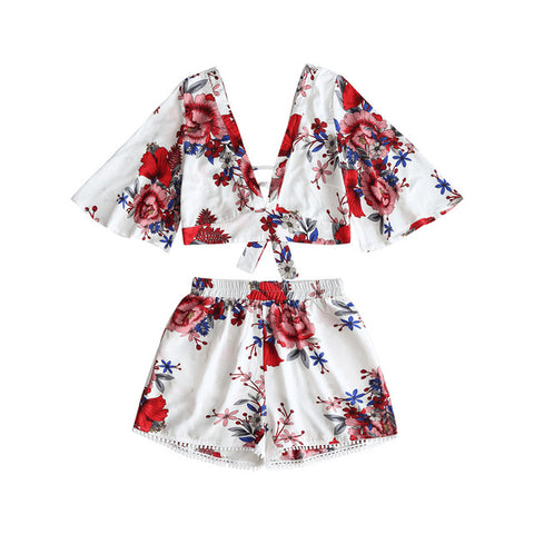 Floral Neck Cropped Top / High Waisted Lace shorts