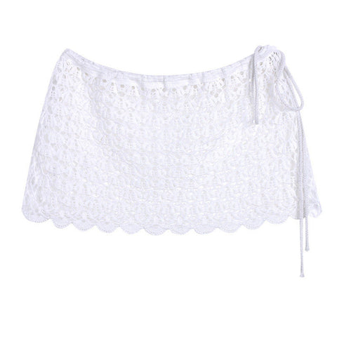 White Knit Beach Cover Up Skirt
