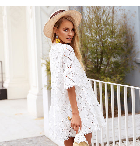 Hollow cotton white lace Flare sleeve dress / One Size