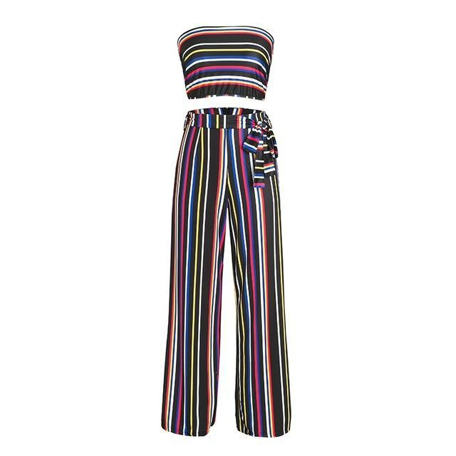 sexy Boho two-piece stripe  jumpsuit