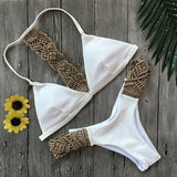 Vacation High waist brazilian bandeau bikini set