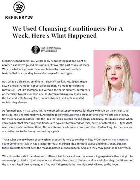 Refinery29 Unwash Cleansing Conditioner
