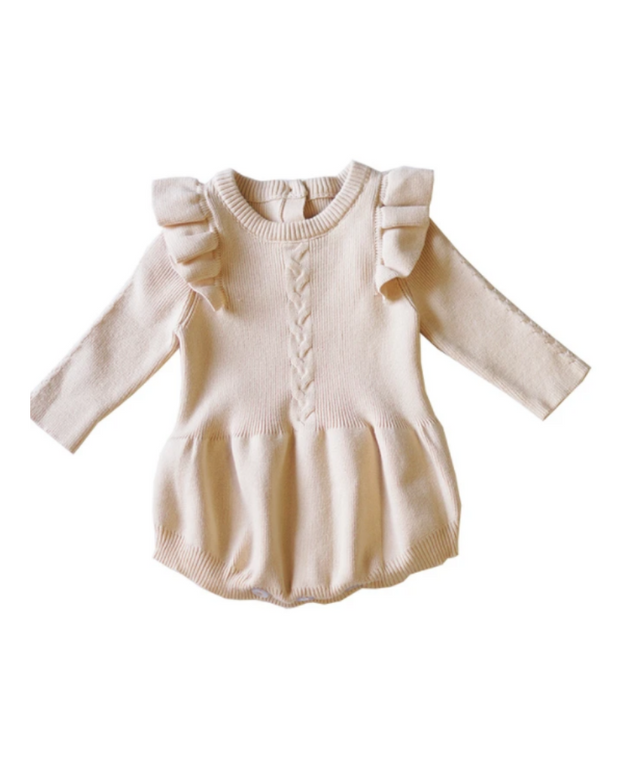 Cream Knit Ruffle Romper