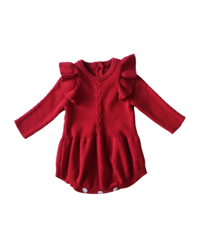Red Knit Ruffle Romper