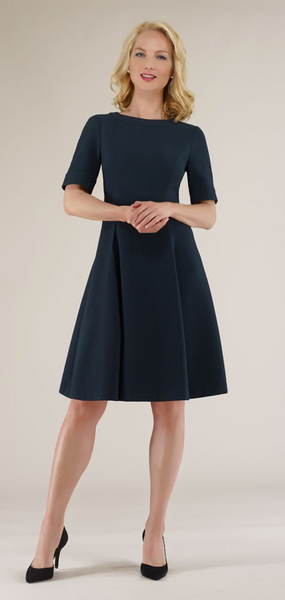 Navy Crepe Fit and Flare Dress