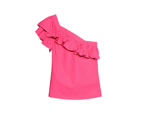 fuchsia one-shoulder top