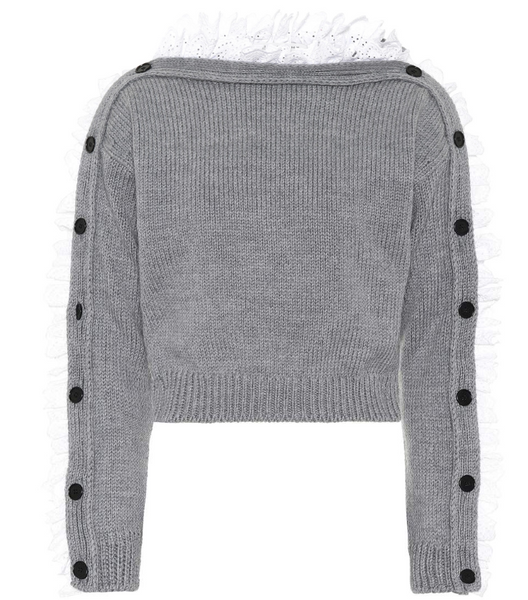 Lace Trimmed Wool Sweater