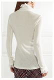 Lace-trimmed ribbed wool-blend sweater