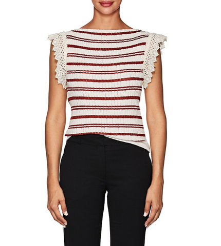 Philosophy di Lorenzo Serafini Crochet-Trimmed Striped Cotton-Blend Top