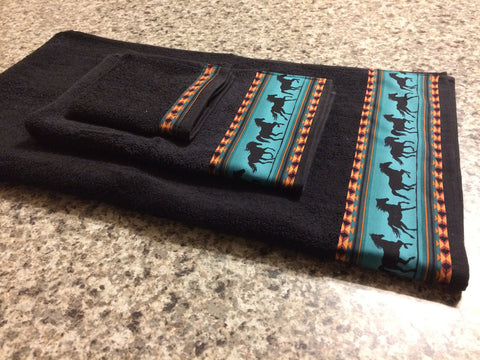 Bathroom Towels - Black Towels with Teal Horses (set)