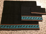 Bathroom Towel Set  - Black Towels with Teal Horses