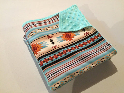 Baby Blanket - Light Teal Navajo Minky