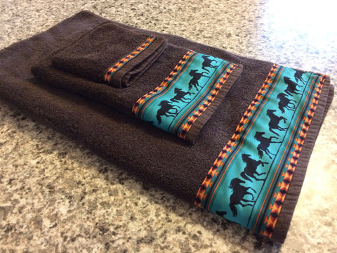 Bathroom Towel Set - Brown Towels with Teal Horses