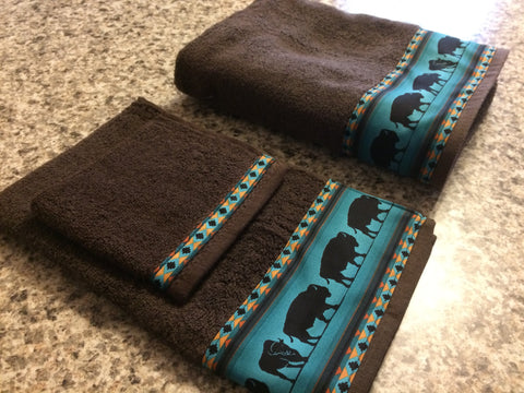 Bathroom Towel Set - Brown Towels with Teal Bison