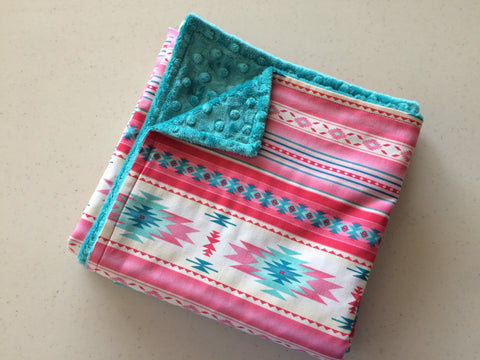 Baby Blanket - Pink Navajo with Dark Teal