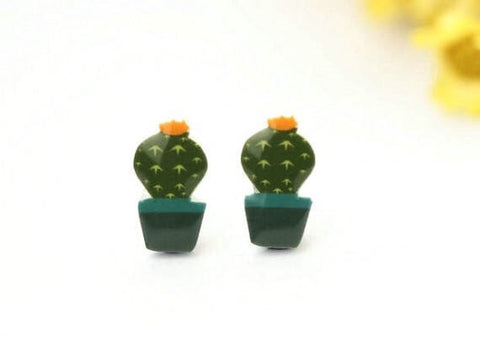 Earrings - Potted Cactus