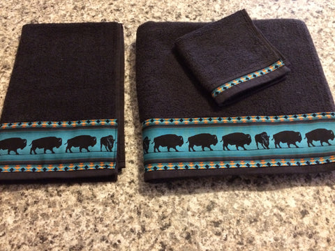 Bathroom Towel Set - Black with Teal Bison