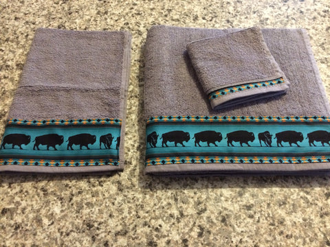 Bathroom Towel Set - Charcoal Grey with Teal Bison