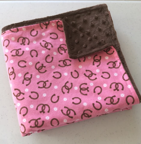 Baby Blanket - Pink/Chocolate Horseshoes