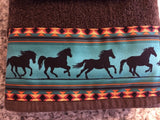 Bathroom Towels - Brown Towels with Teal Horses (set)