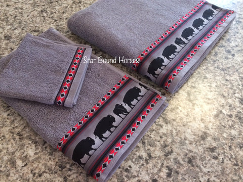 Bathroom Towel Set - Charcoal Grey with Grey Bison