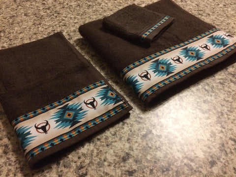 Bathroom Towels - Brown with Teal Navajo Skulls (set)