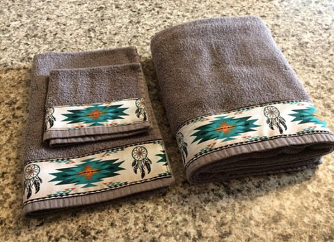 Bathroom Towel Set - Charcoal Grey with Teal Dreamcatchers