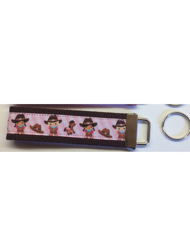 Key Fob - Lil Cowgirls on Brown