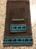 Bathroom Towels - Brown Towels with Teal Bison (set)