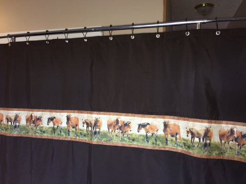 Shower Curtain - Dark Brown with Horses